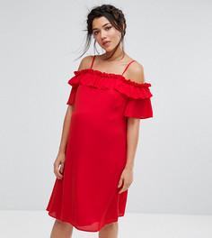 Платье с открытыми плечами и рюшами Queen Bee Maternity - Красный