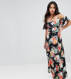 Платье макси с открытыми плечами и цветочным принтом Queen Bee Maternity - Мульти