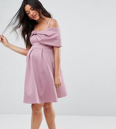 Короткое приталенное платье с открытыми плечами ASOS Maternity - Фиолетовый