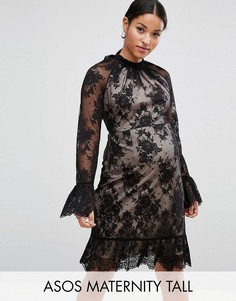 Кружевное платье мини с высоким воротом и открытой спиной ASOS Maternity TALL - Черный