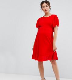 Чайное платье с оборкой по краю Queen Bee Maternity - Розовый