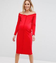 Облегающее платье миди с вырезом сердечком и пуговицами ASOS Maternity - Красный