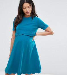 Платье для беременных и кормящих мам с короткими рукавами ASOS Maternity - Зеленый