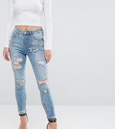Рваные джинсы скинни New Look Petite - Синий