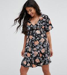 Платье с пышными рукавами и цветочным принтом New Look Maternity - Черный