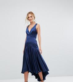 Платье миди с перекрестной спинкой и складками внизу Jarlo Tall - Темно-синий