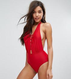 Слитный купальник с глубоким вырезом South Beach - Красный