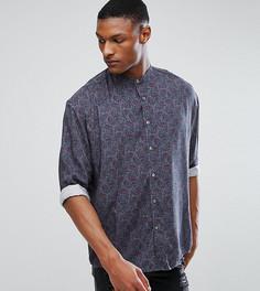 Оверсайз-рубашка с заниженной линией плеч и принтом пейсли ASOS TALL - Серый