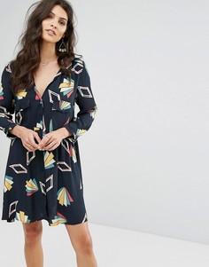 Свободное платье с принтом BA&SH - Черный Ba&Sh