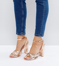 Золотисто-розовые босоножки на блочном каблуке The March - Золотой