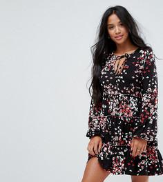 Свободное платье с V-образным вырезом и цветочным принтом ASOS PETITE - Мульти
