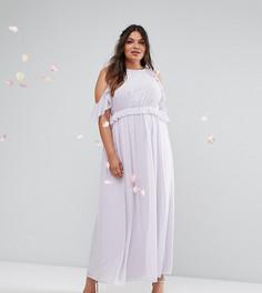 Платье макси с оборками TFNC Wedding Plus - Фиолетовый
