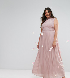 Платье макси с высоким воротом и кружевной отделкой TFNC Wedding Plus - Фиолетовый