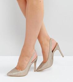 Туфли на каблуке с ремешком через пятку New Look - Золотой