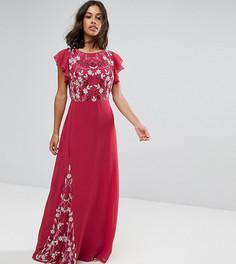 Платье макси с отделкой и рукавами клеш Maya Petite - Красный