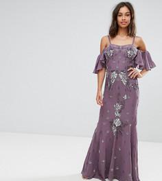 Платье макси с открытыми плечами Maya Petite - Фиолетовый