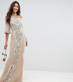 Декорированное платье-бандо макси Maya Tall - Розовый