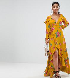 Платье макси с длинным рукавом, цветочным принтом и запахом ASOS PETITE - Желтый