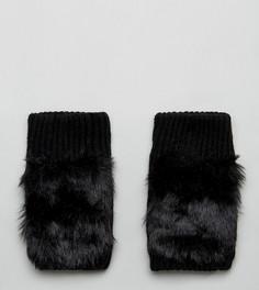 Черные перчатки с отделкой из искусственного меха My Accessories - Черный