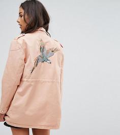 Куртка карго с аппликацией птицы Noisy May Petite - Розовый