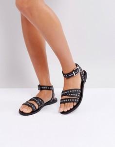 Черные кожаные сандалии с люверсами Sol Sana - Черный