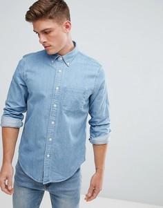 Выбеленная джинсовая рубашка узкого кроя с карманом Abercrombie & Fitch - Синий