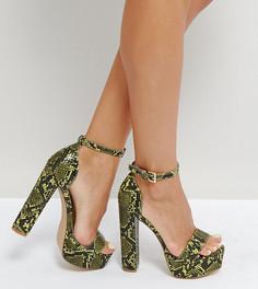 Босоножки на платформе со змеиным принтом Missguided - Зеленый