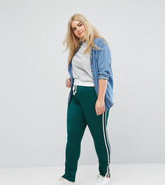 Джоггеры с контрастным поясом и полосами по бокам Missguided Plus - Зеленый
