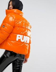 Оверсайз-куртка с логотипом на спине Puffa Original - Оранжевый