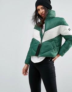 Оверсайз-куртка с контрастной шевронообразной вставкой Puffa - Зеленый