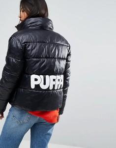 Оверсайз-куртка с логотипом на спине Puffa Original - Черный