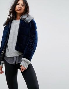 Бархатная куртка с воротником из искусственного меха Puffa - Темно-синий
