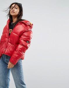Оверсайз-куртка с капюшоном Puffa - Красный