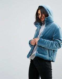 Бархатная оверсайз-куртка с капюшоном Puffa - Синий