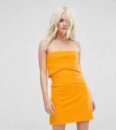 Платье-бандо мини в рубчик ASOS PETITE - Желтый