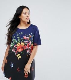 Платье с цветочным принтом Yumi Plus - Темно-синий