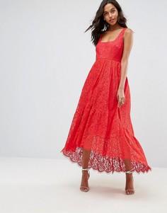 Платье миди с квадратным вырезом ASOS - Красный