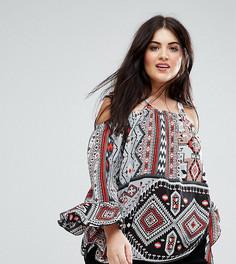 Блузка с открытыми плечами и геометрическим принтом Lovedrobe - Мульти