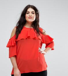 Блузка с оборками и вырезами на плечах Lovedrobe Scarlet - Красный