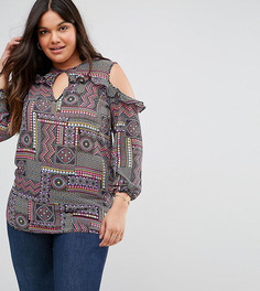 Блузка с принтом, оборками и открытыми плечами в богемном стиле Lovedrobe - Мульти