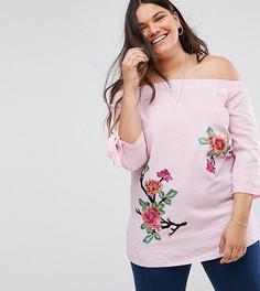 Блузка в полоску с открытыми плечами и цветочным узором Lovedrobe - Мульти