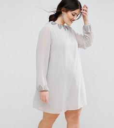 Платье-туника с декоративной отделкой Lovedrobe Luxe - Серый