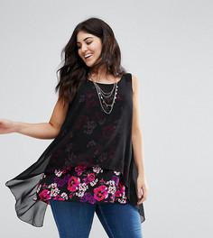 Блузка с контрастным цветочным принтом Koko - Мульти