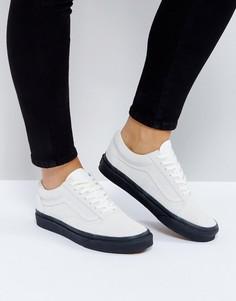 Бежевые замшевые кроссовки с темной каучуковой подошвой Vans - Белый