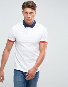 Белая футболка-поло с контрастным воротником Kiomi - Белый