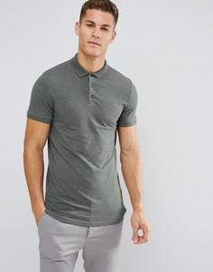 Зеленая длинная облегающая футболка-поло ASOS - Зеленый