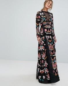 Платье макси с сетчатыми вставками и вышивкой Frock and Frill - Черный