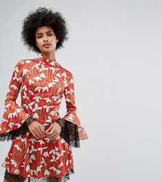 Короткое приталенное платье с цветочным принтом и кружевными вставками Horrockses - Мульти