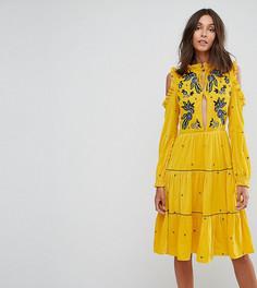 Свободное бархатное платье с вырезами на плечах и цветочной вышивкой Frock And Frill Tall - Желтый