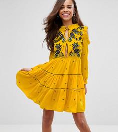 Свободное бархатное платье с цветочной вышивкой Frock And Frill Petite - Желтый
